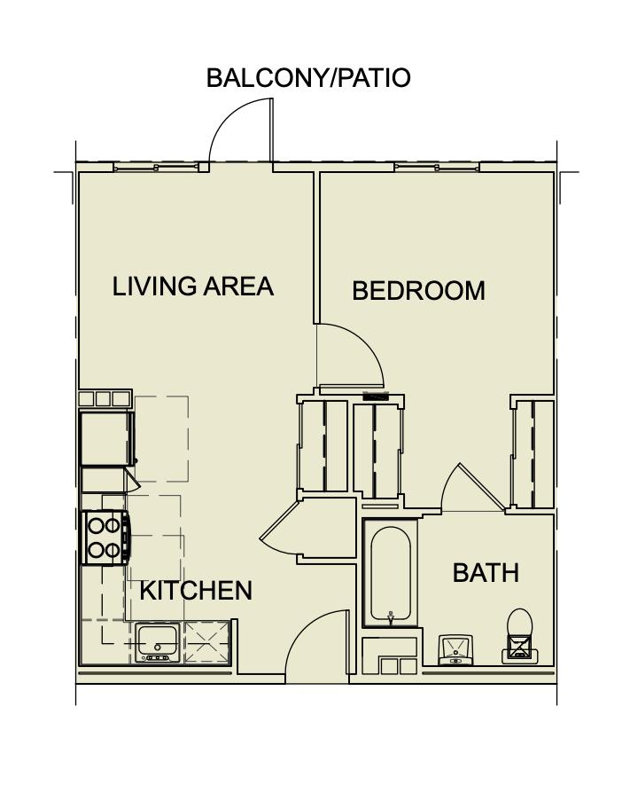One Bedroom/ One Bath - 554 SF
