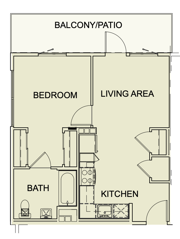 Unit type A2 One Bedroom/ One Bath - 554 SF