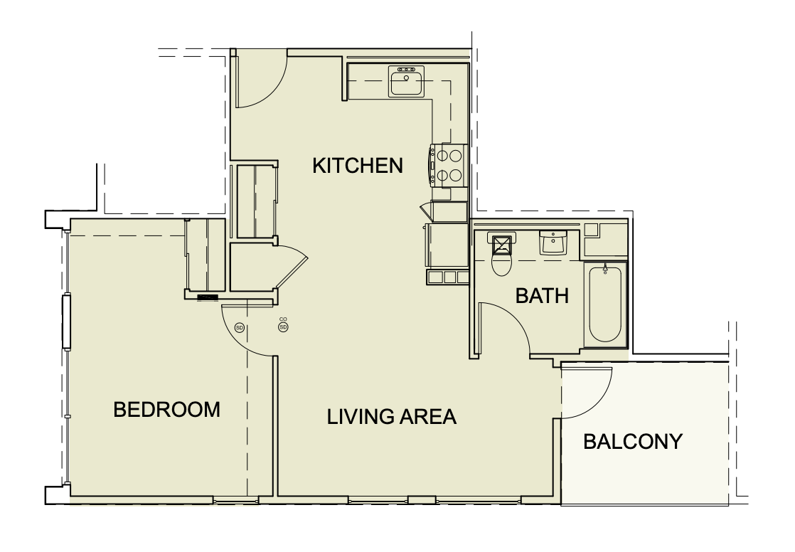 One Bedroom/ One Bath - 668 SF Unit type A4
