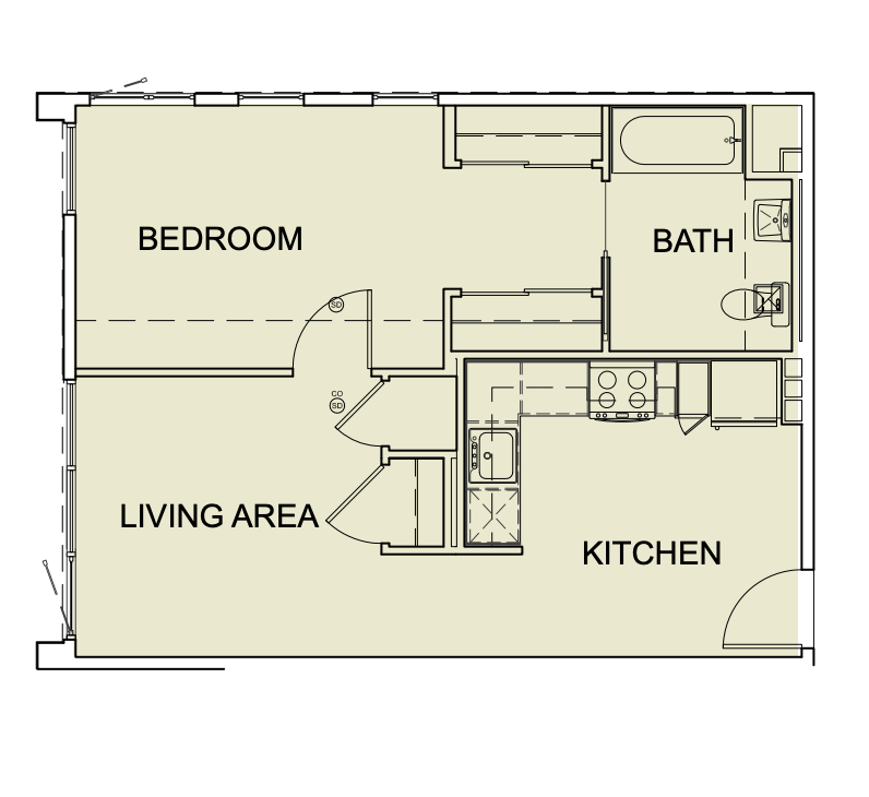 One Bedroom/ One Bath - 630 SF Unit Type A5