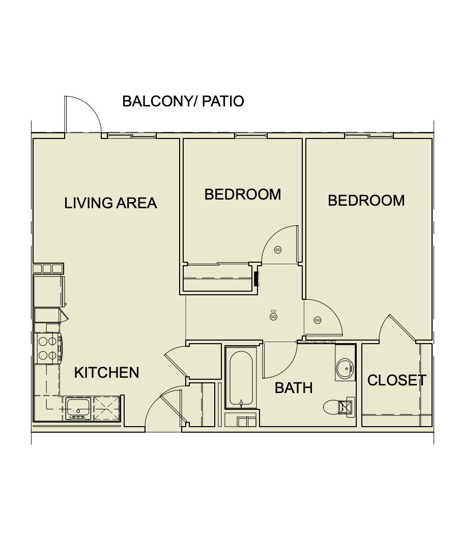 Two Bedroom/ One Bath - 808 SF Unit type B1