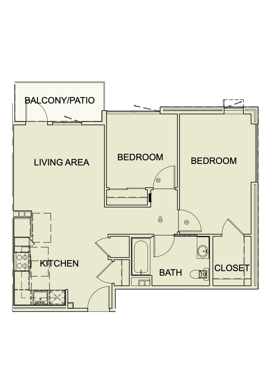 Two Bedroom/ One Bath - 860 SF Unit type B2