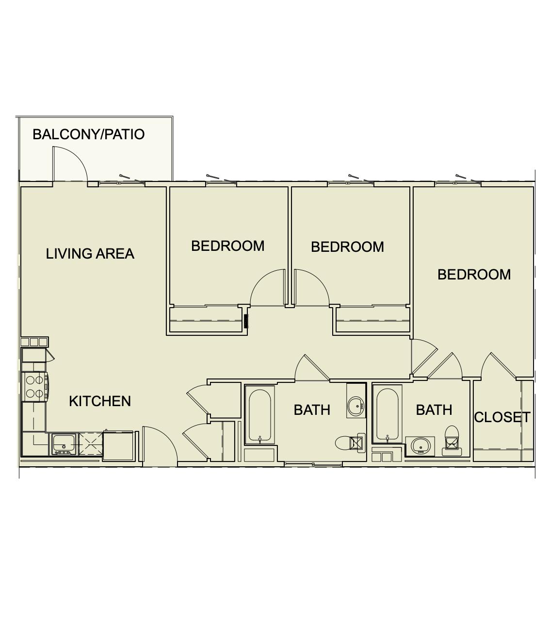 Three Bedroom/ Two Bath - 1087 SF unit type c1