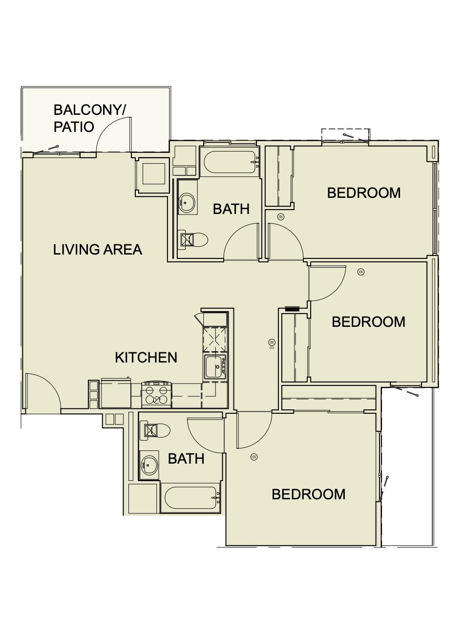 Three Bedroom/ Two Bath - 1035 SF Unit type c4